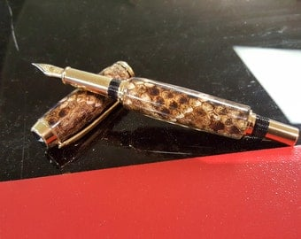 Baron Rattlesnake Fountain Pen in Titanium Gold