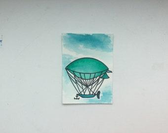 Air baloon airship ACEO watercolor trading cards collectibles