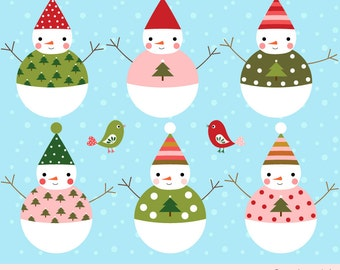 Items similar to Snowman Snowflake PNG Clipart, Commercial and ...