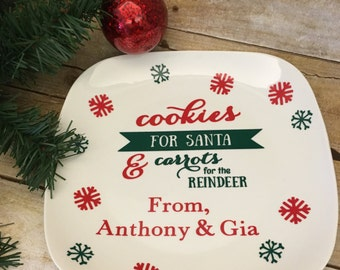 Cookies for Santa & carrots for The reindeer personalized with a name or names ! Santa plate !