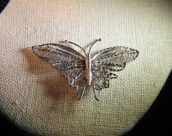 stunning vintage sterling silver filigree butterfly brooch