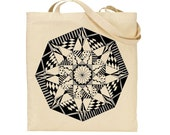 Wonderful Geometric Hand Drawn Hand Printed Design onto Lovely Long Handled Cotton Tote
