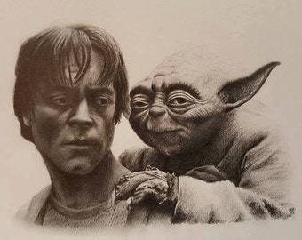 Original pencil drawing of Luke and Yoda