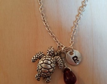 Birthstone January Siam necklace turtle Siam January birthstone Siam turtle birthstone turtle necklace Siam birthstone necklace turtle charm