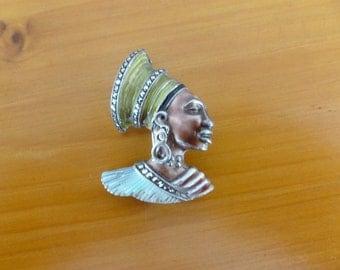 Vintage Sterling Silver Green Enamel Marcasite African Lady Brooch Tribal 1940s