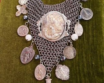 Vintage Mesh Necklace  ,Embellished with Religious Icons.