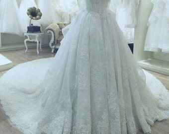 hight quality no sleeves wedding dress lace dress