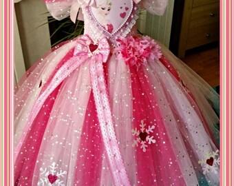 Handmade Girls Disney Frozen Pink Elsa Tutu Dress