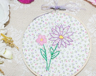 Flowers and floral hand stitched embroidery hoop