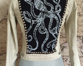 S Tan Studded Jacket with Octopus Patch on Back Size Small