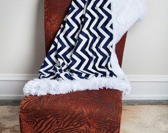 Chevron Throw Blanket, Navy White, Throw Blanket, Decorative Blanket, Faux Fur Throw, Home Decor