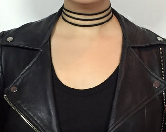 3 Wishes - Suede Black Choker