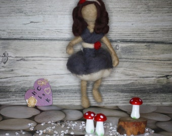 Handmade wool needle felt fairy in grey