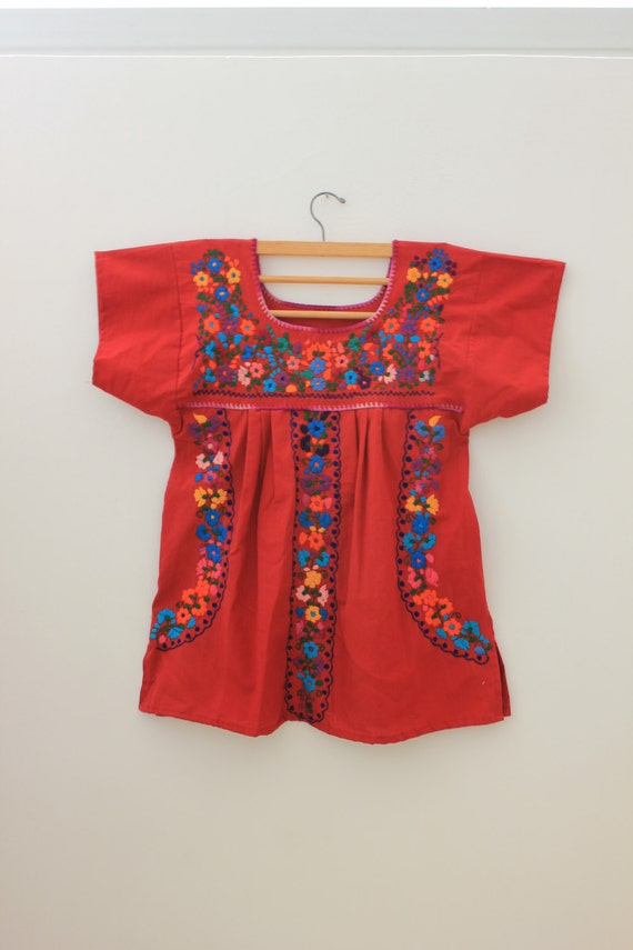 Mexican Embroidered Blouse/ Flowers