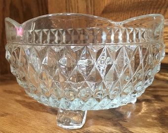 Vintage Indiana Glass diamond point footed candy dish nut bowl