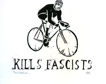 This Machine...Vintage Cyclist Linocut Print, Hand Printed