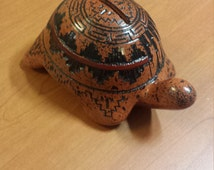 Navajo Artisan Heather Eskeets  Pottery Traditionally Styled  Turtle Coin Bank