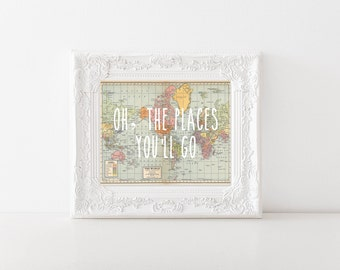 Oh, the place you'll go World Map Printable, Digital Printable, Nursery Decor, Nursery, Baby Room Decor