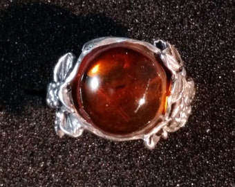Sterling Silver Amber Ring with antique etching in floral design