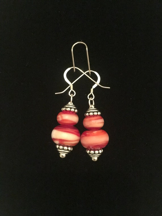 Hand pulled German Lauscha glass beads on sterling silver earring hooks