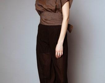 Zipped blouse with drape