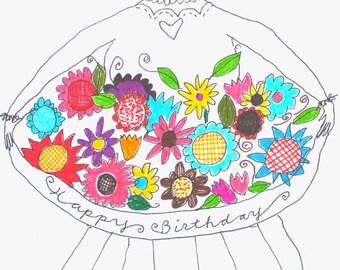 happy birthday, flower bouquet card