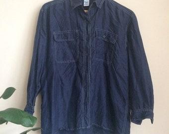 Contrast stitching navy silk blouse button up shirt UK 12-14