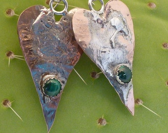 Heart shaped silver, copper and malachite earrings
