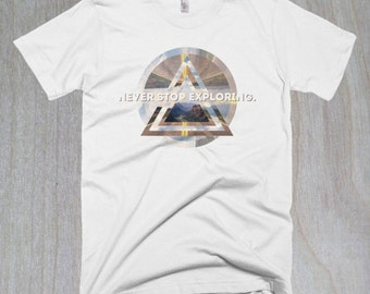 Never Stop Exploring Abstract Forest T-shirt - Abstract Art Men's tee - S-XXL - White Forest T-shirt - White Travelling Tee