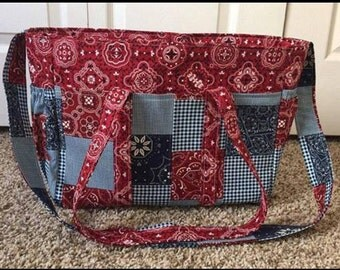 Red and Blue Western Bandanna Diaper Bag