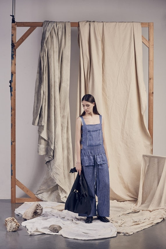 BLUE pure COTTON loose JUMPSUIT