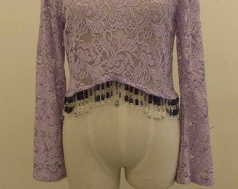 Lace beaded shirt, Size 8-10