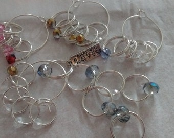 Set of 5x Stitch markers for knitting, snag free, crystal, free postage in UK