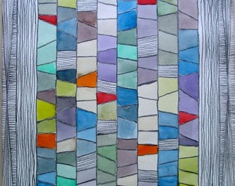 """Midcentury Graphite Artwork Colorful Watercolor Pastel Geometric Shapes Titled """"Stained Glass Window"""" Framed work on Paper 18x24 inches"""