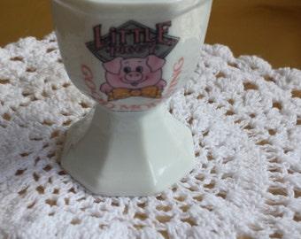 Little Piggy Porcelain Ceramic Egg Cup Children 1980s