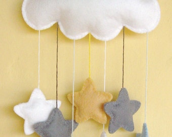 White felt cloud nursery mobile with a cascade of elephant grey, soft yellow, baby blue and white stars...can be personalised