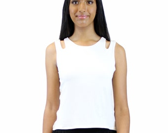 Cut out top/ sleeveless top/ cut-out shoulders top/ round neck top/ fitted top/ side trim top/ casual top