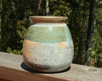Handmade wheel-thrown stoneware pot or vase
