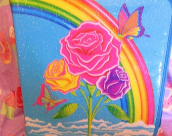 30% OFF! Vintage Lisa Frank Rose Butterfly Rainbow Binder