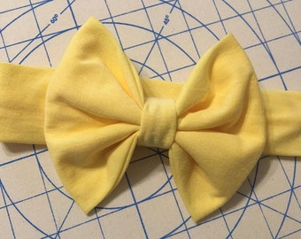 Yellow Big Bow Headband, Yellow Headband, Big Bow Headband, Newborn Headband, Baby Headband, Child Headband, Adult Headband
