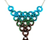 Knotted Triangle Chainmaille Necklace - Earth Color Mix