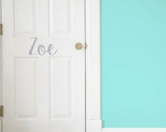 Custom Name Glitter Vinyl Door Decal