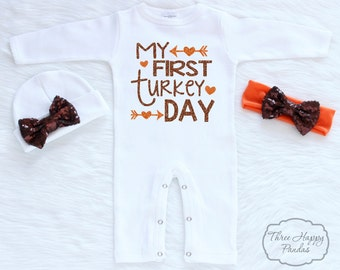 Baby First Thanksgiving Outfit Thanksgiving Bodysuit My First Thanksgiving Outfit, Turkey Shirt for Baby, Baby 1st Thanksgiving Outfit, HT5