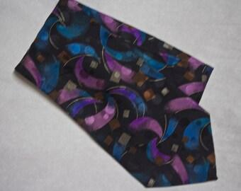 Vintage Silk Necktie, Italian Silk Necktie, Men's Tie, Purple Tie, Bright Colors, Geometric Pattern, Retro Tie, Men's Vintage Necktie