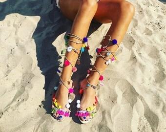 Handmade Pom Sandals size 38-41.