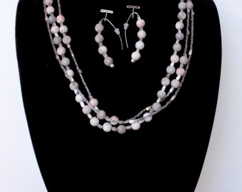 Soft Pink And Grey Beaded Necklace and Earring Set