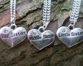 Big Sister Necklace, Middle Sister Necklace, Little Sister Necklace, Gift for Sisters, Sister Jewellery, Gift for Daughters