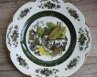 Ascot Service Plate English Village Gold Trim