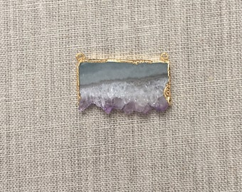 Amethyst Stalactite Slice Double Bail Pendant with 24k Gold Electroplated Edges