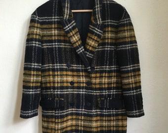 Navy Blue Plaid Coat